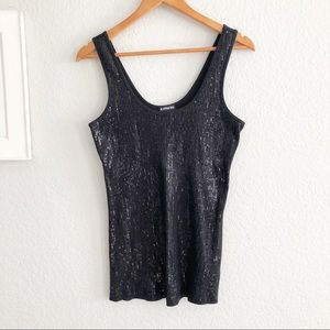🔴 Express Black Sequin Ribbed Knit Tank Top Cami